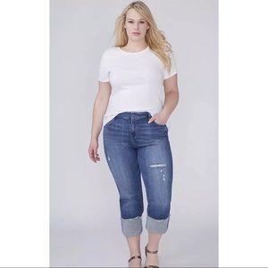 Lane Bryant Remade Distressed Crop Jeans Sz 22